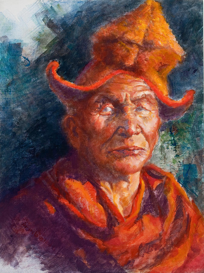 Tibet Painting - Tibetan Monk by Ellen Dreibelbis