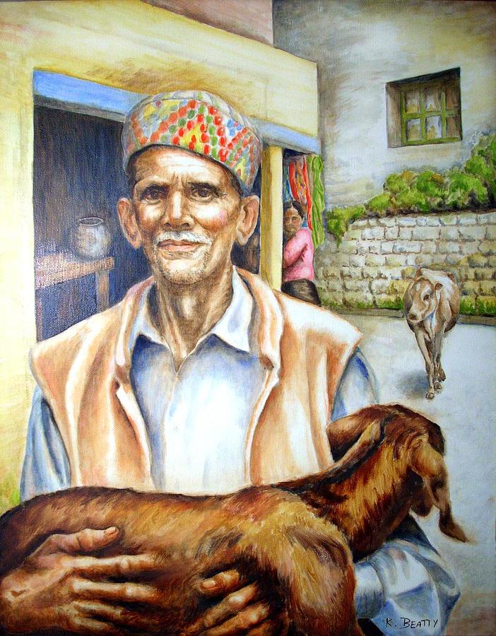 Tibetan Painting - Tibetan Refugee Dharamsala by Karla Beatty