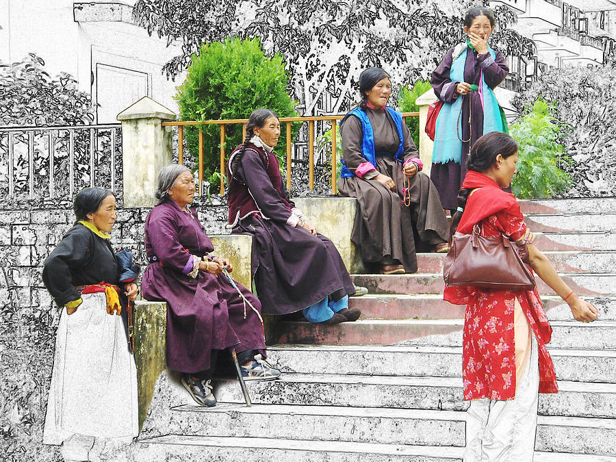 Tibet Digital Art - Tibetan Women Waiting by Karla Beatty