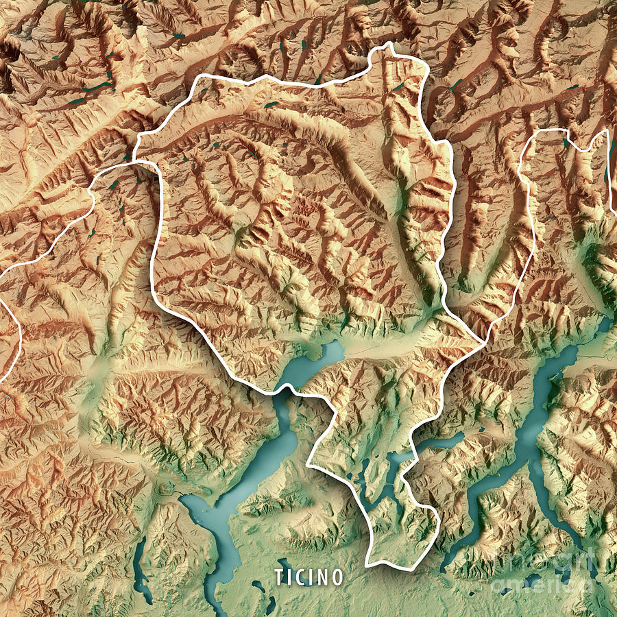 Ticino Canton Switzerland 3d Render Topographic Map Border Digital