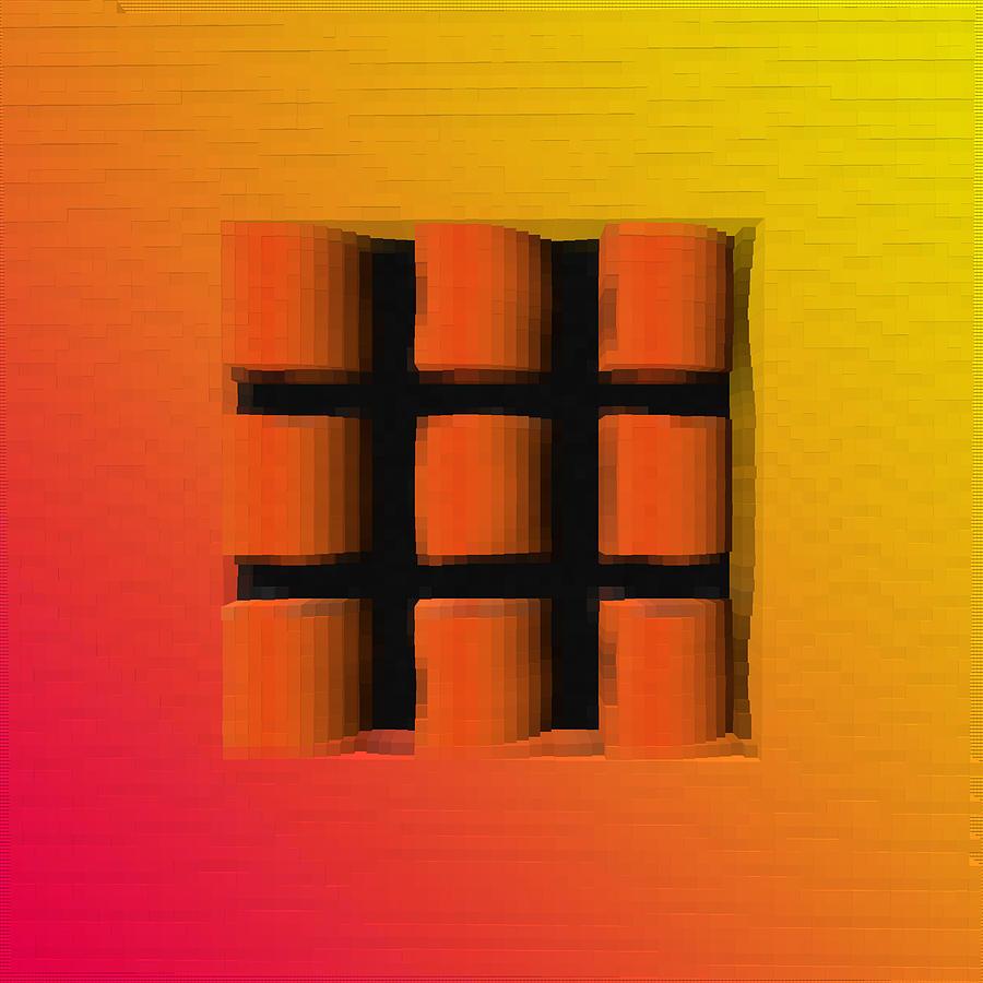 Abstract Digital Art - Tick Tac Toe Window by Debbie McIntyre