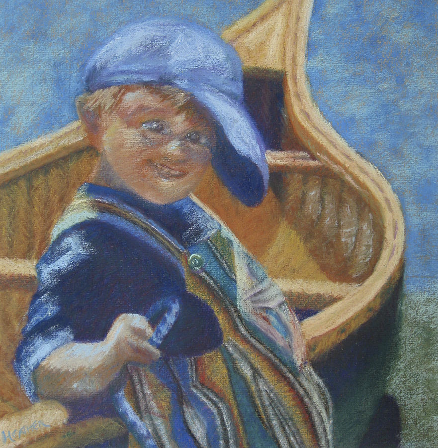 Little Boy Painting - Ticket Please by Heather Parlane