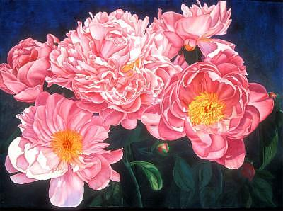 Pink Peonies Painting - Tickled Pink by Mary Backer