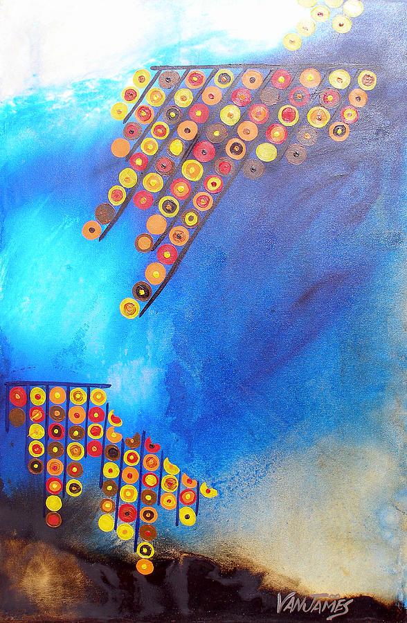 Blue Painting - Tidal Motion by CJ Van James