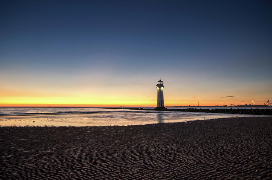Tide coming in at Sunset New Brighton by Spikey Mouse Photography