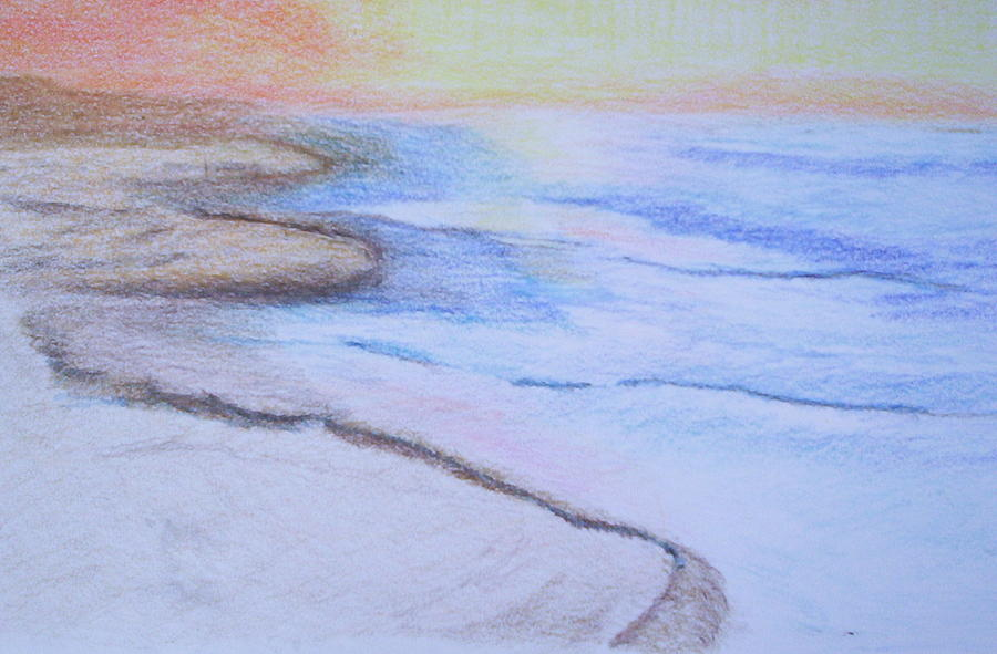 Landscape Drawing - Tide Is Out by Suzanne Udell Levinger