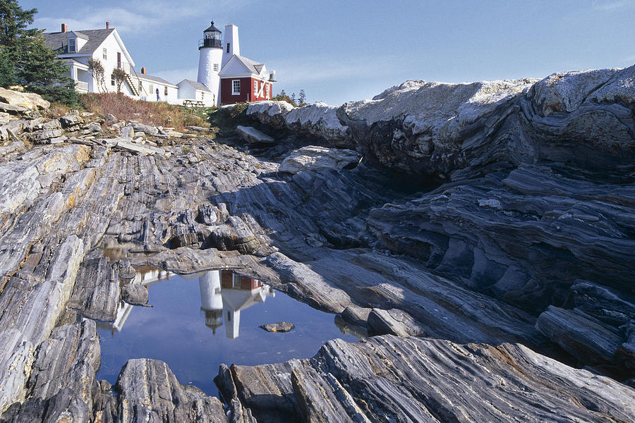 Pemaquid Point; Architecture Photograph - Tide Pool Reflection Pemaquid Point Lighthouse Maine by George Oze
