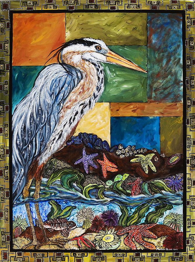 Bird Painting - Tidepool Heron by Melissa Cole