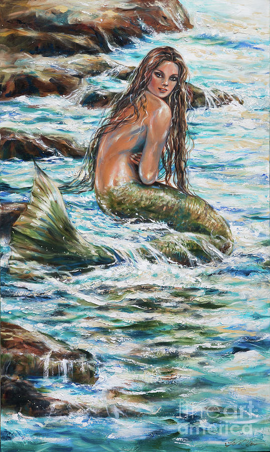 Mermaid Painting - Tidepool by Linda Olsen