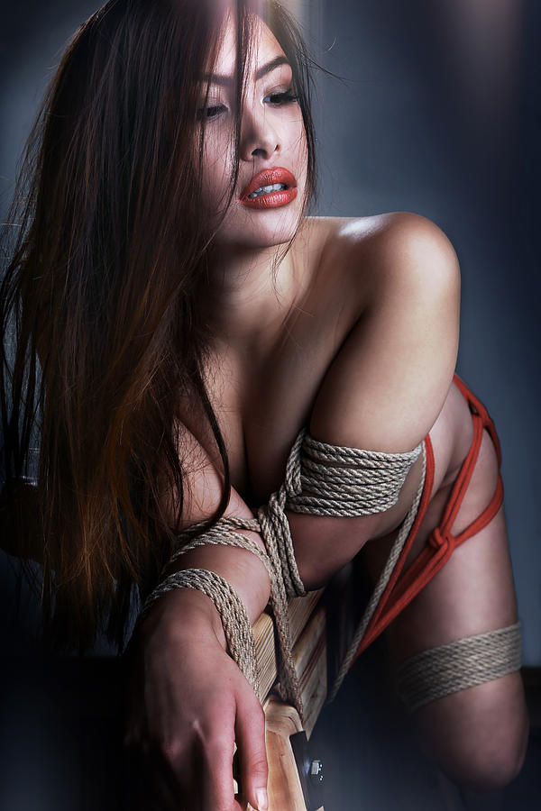 Asian Photograph - Tied Asian Girl V3 by Rod Meier