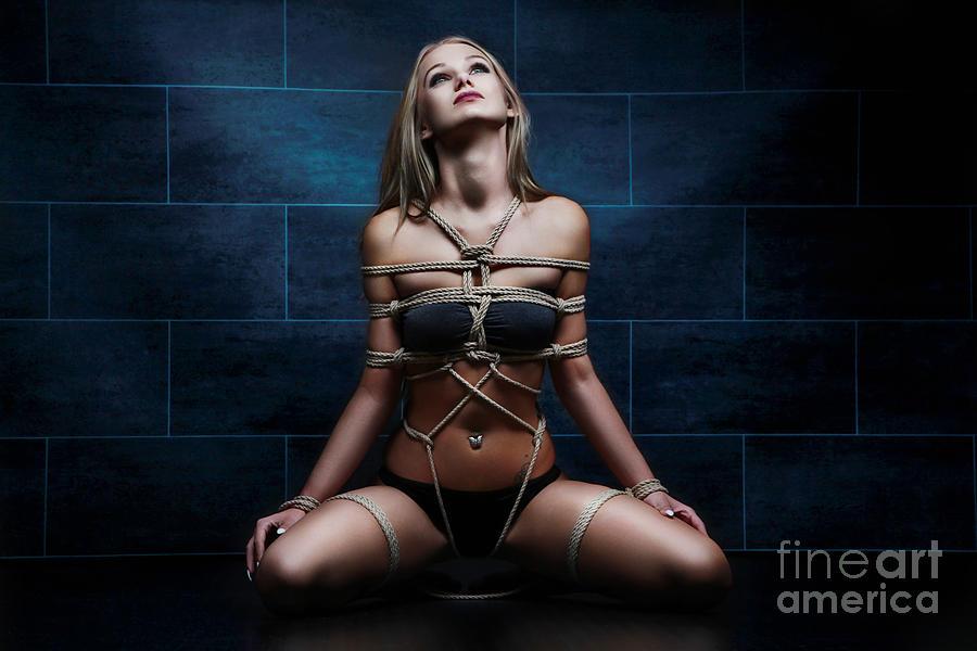 Art Photograph - Tied In Rope Harness - Fine Art Of Bondag by Rod Meier