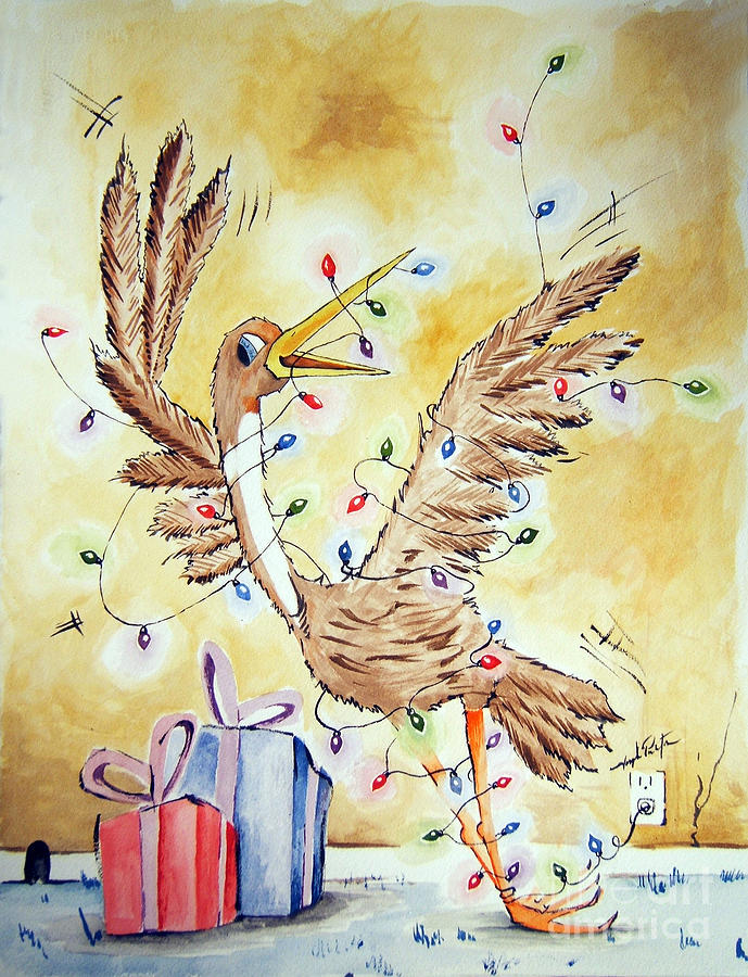 Bird Painting - Tied Up For The Holidays by Joseph Palotas