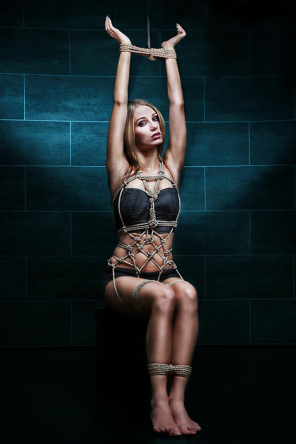 Tied Up Photograph - Tied Up Girl - Rope Harness Artwork - Fine Art Of Bondage by Rod Meier
