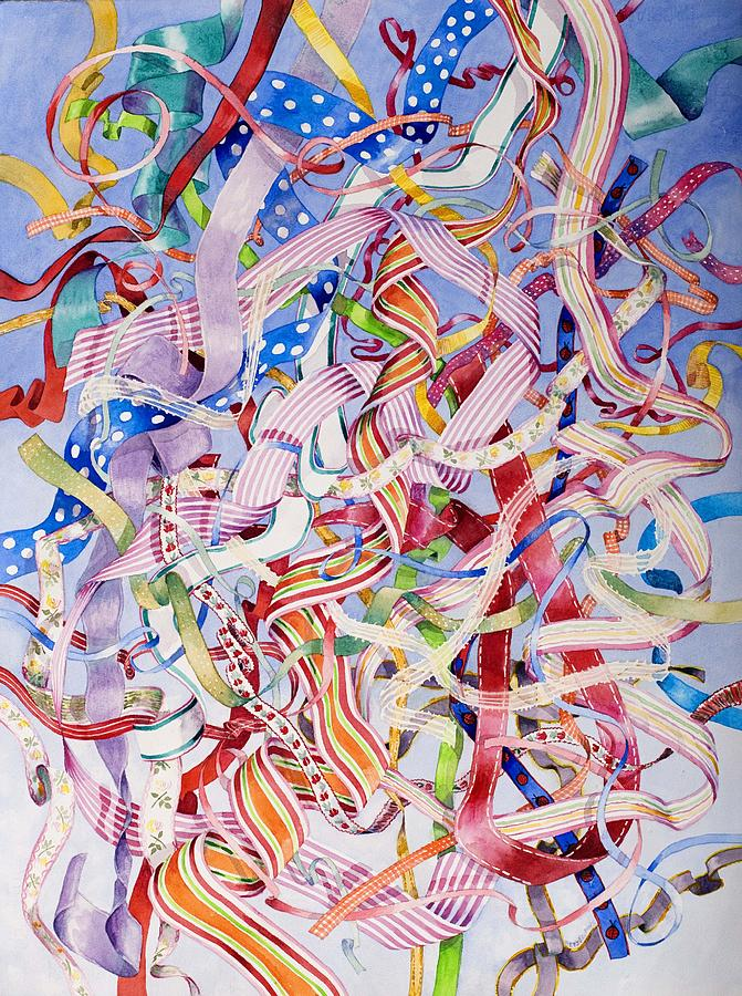 Ribbons Painting - Ties To Childhood by Suzanne Hetzel