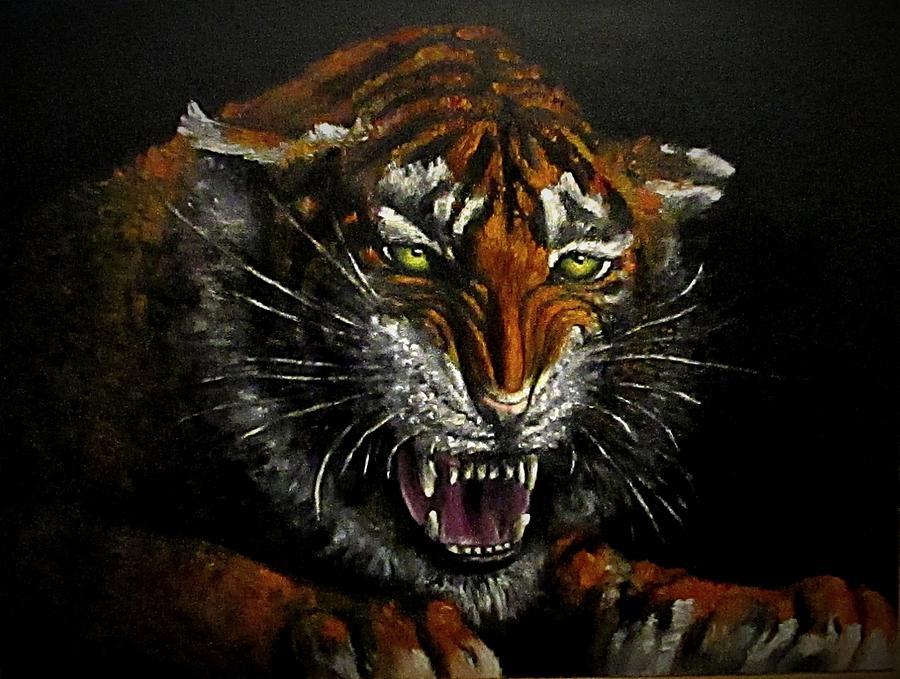 Animal Painting - Tiger-1 Original Oil Painting by Natalja Picugina