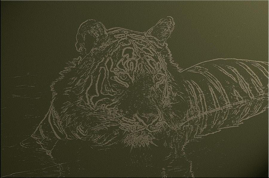 Tiger Digital Art - Tiger A Gentle Animal by Manjot Singh Sachdeva