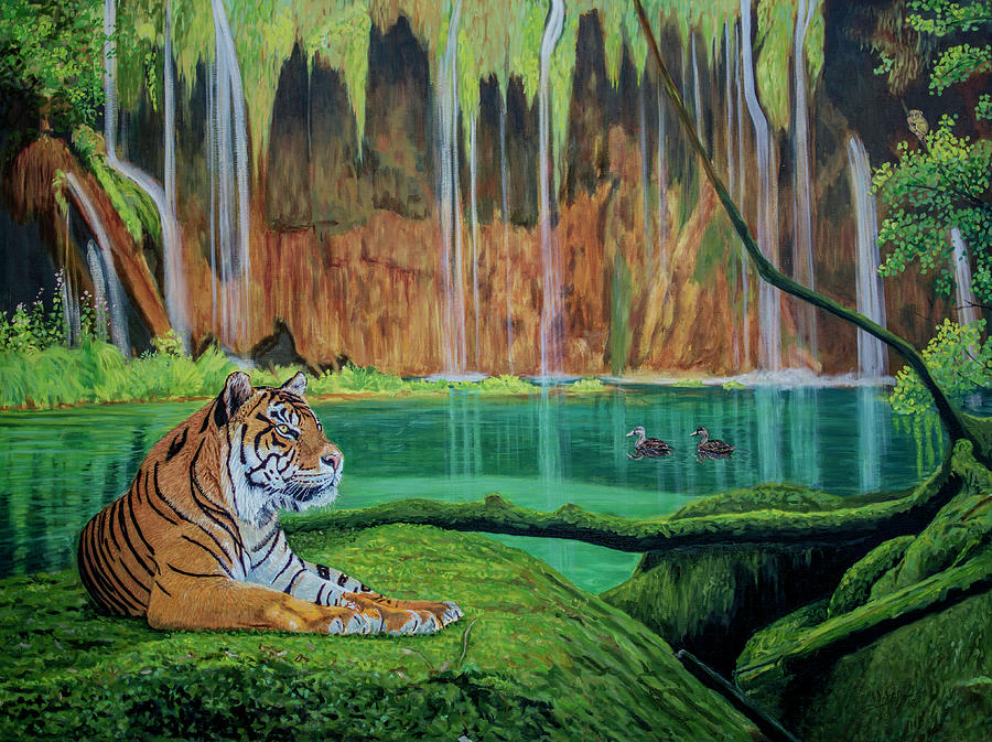 Lion Painting - Tiger At The Waterfall  by Manuel Lopez
