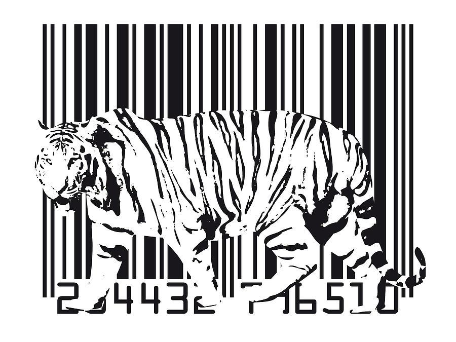 Tiger Digital Art - Tiger Barcode by Michael Tompsett