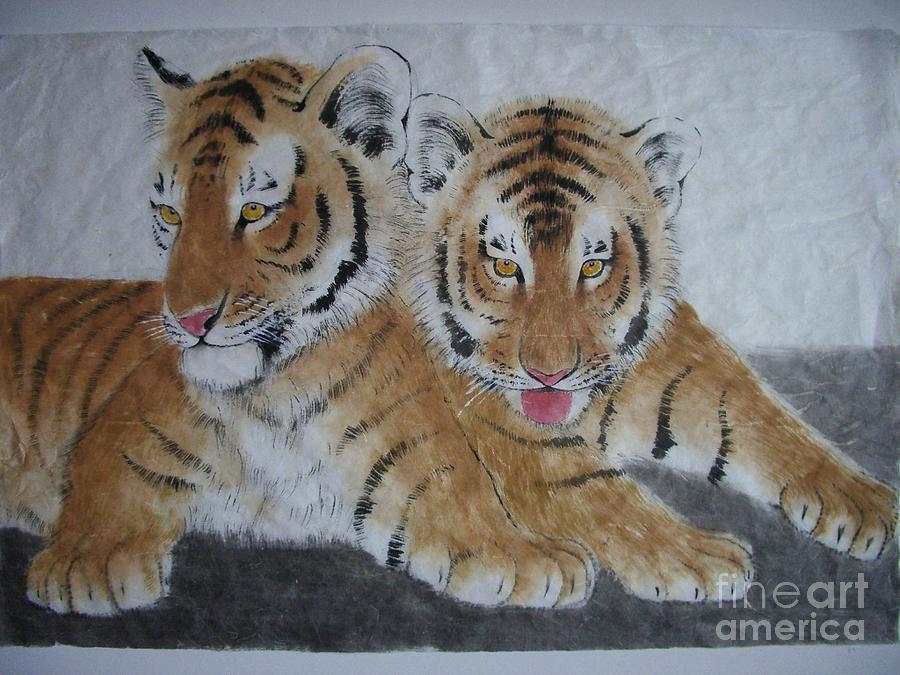 Tiger Painting - Tiger Brothers by Jian Hua Li
