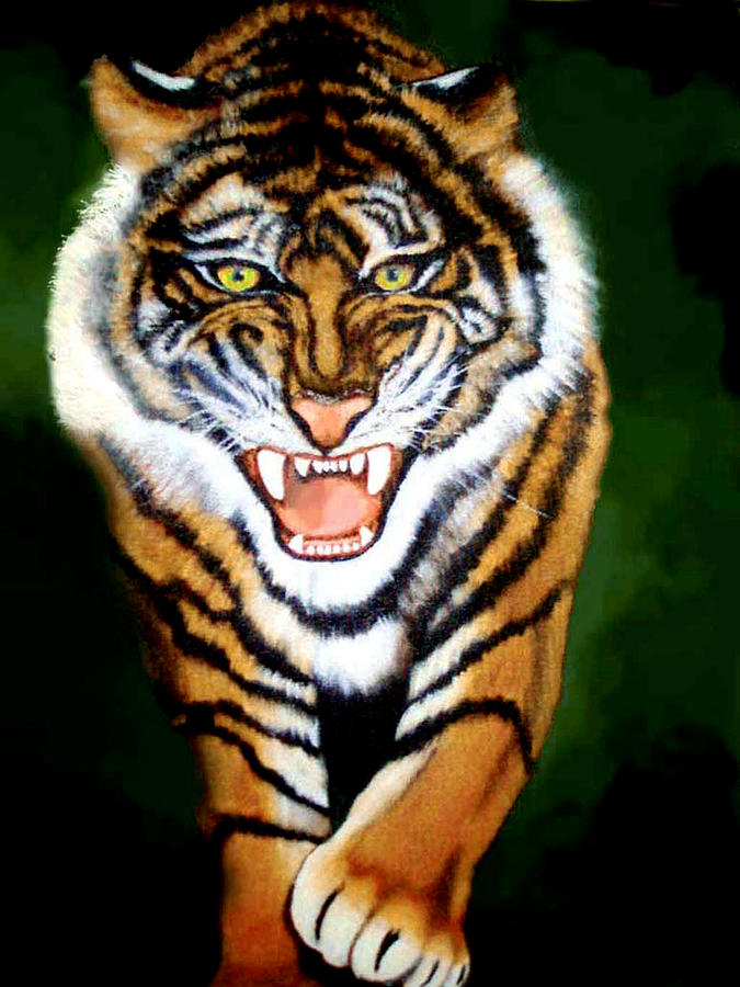 Tiger Charging Painting By Darlene Green
