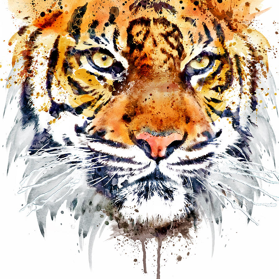 Tiger Painting - Tiger Face Close-up by Marian Voicu