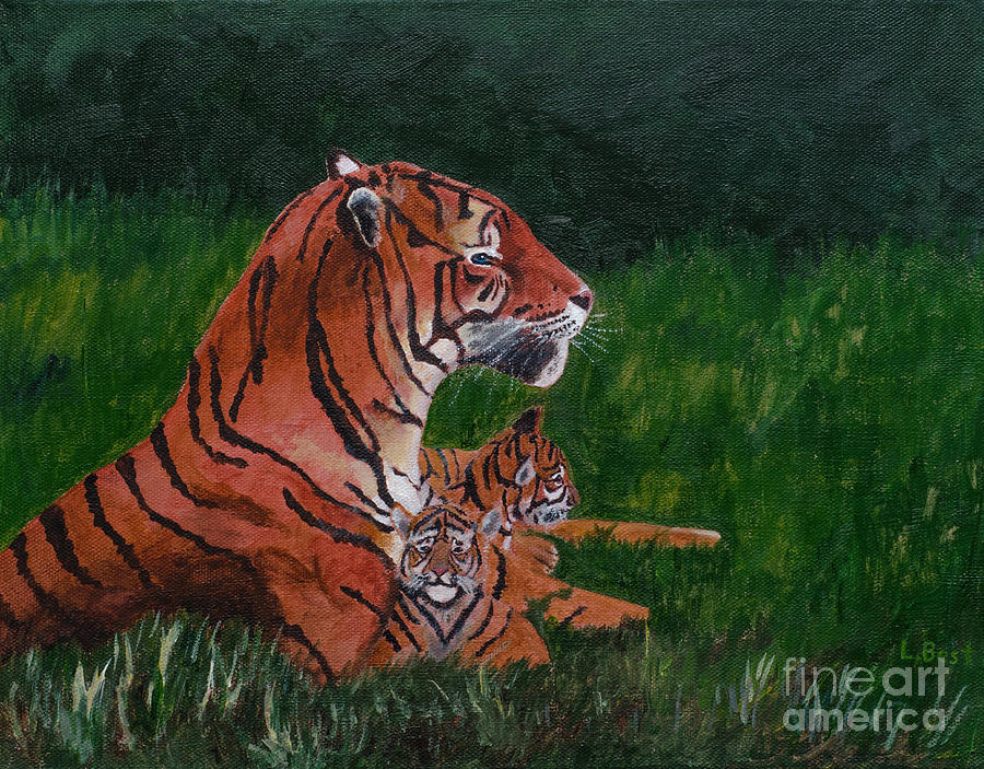 Tiger Painting - Tiger Family by Laurel Best