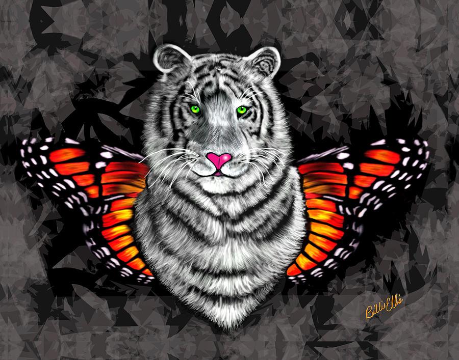 Tiger Digital Art - Tiger Fly by Billie Jo Ellis