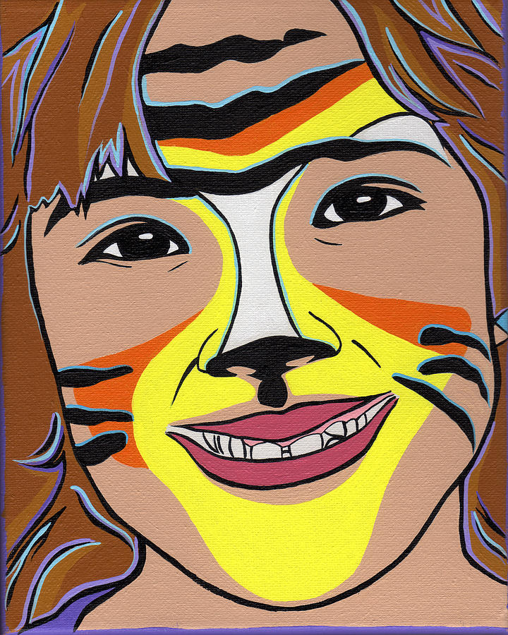 Children Painting - Tiger Girl by Lucia  Perez