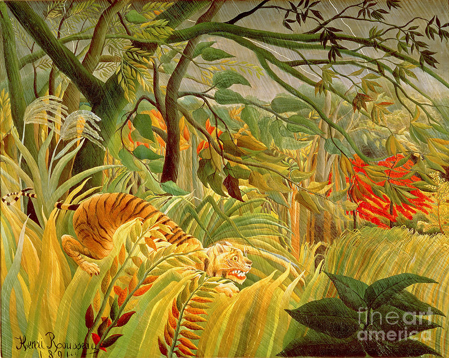 Tiger Painting - Tiger In A Tropical Storm by Henri Rousseau