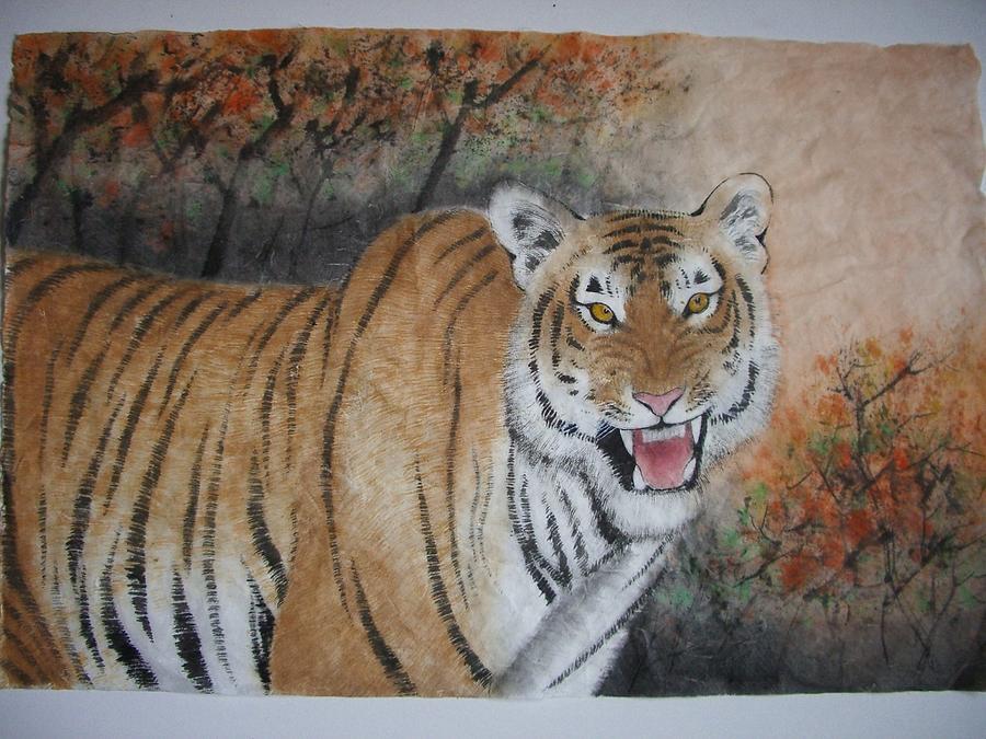 Tiger Painting - Tiger In The Fall by Jian Hua Li