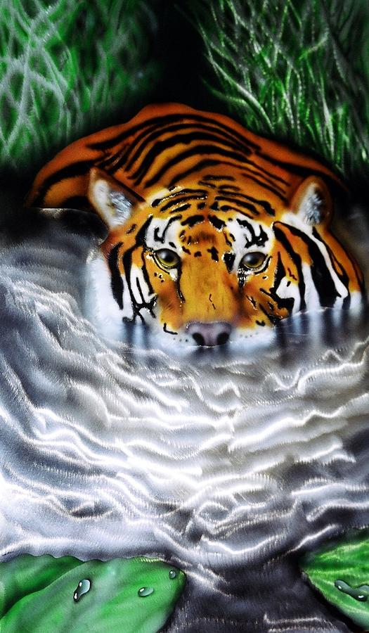 Tiger Mixed Media - Tiger In Water by Chris Macri