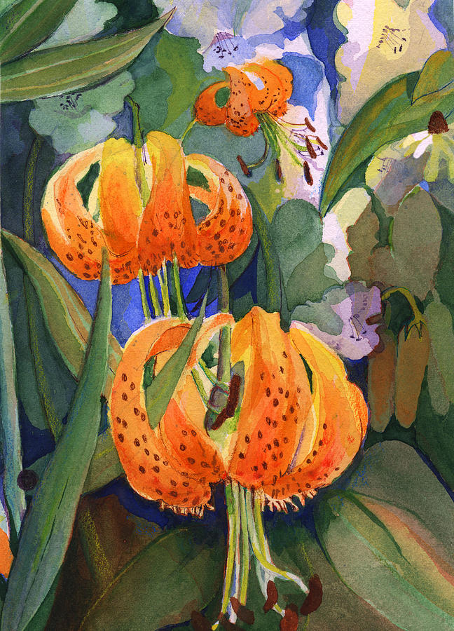 Flower Painting - Tiger Lily Parachutes by Nancy Watson