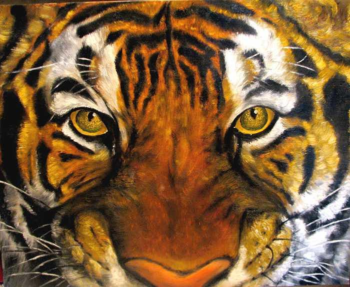 Tiger Painting - Tiger mask  original oil painting by Natalja Picugina