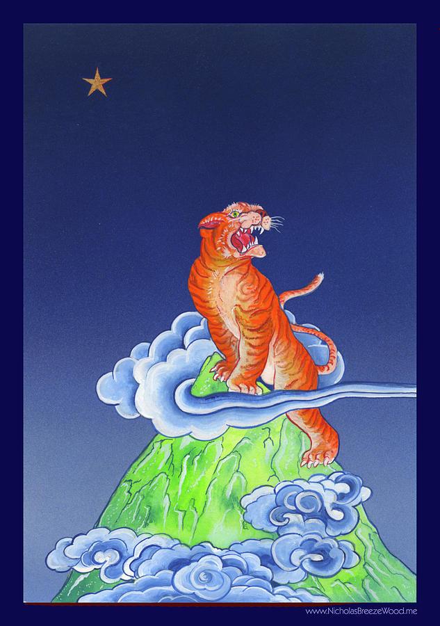 Shaman Painting - Tiger on Sharp Mountain by Nicholas Breeze Wood
