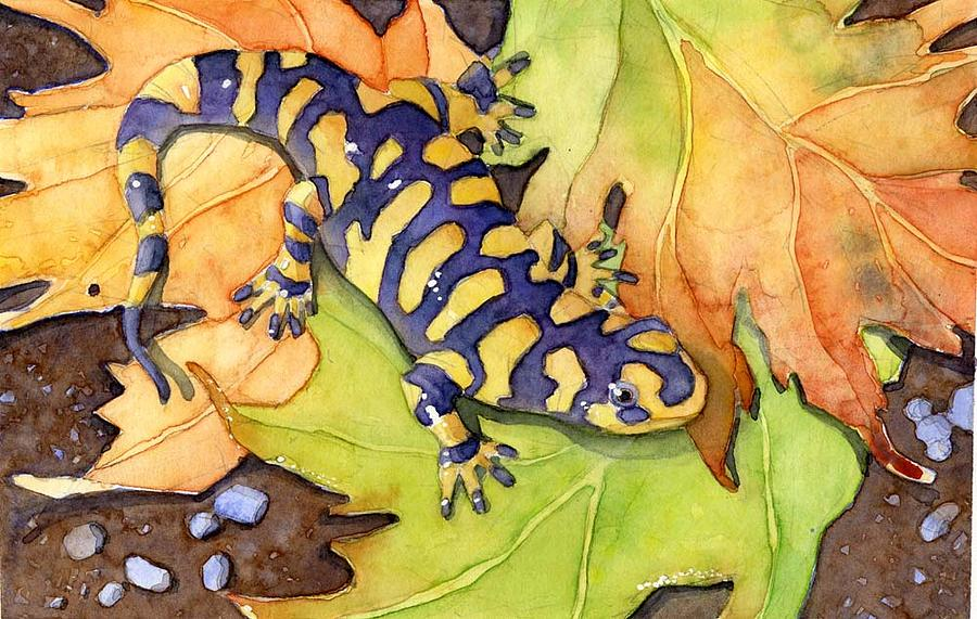Amphibian Painting - Tiger Salamander by Greg Marquez