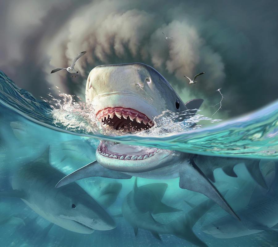 Shark Digital Art - Tiger Sharks by Jerry LoFaro
