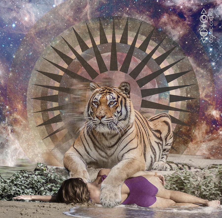 Tiger Spirit Animal Drawing By Lori Menna