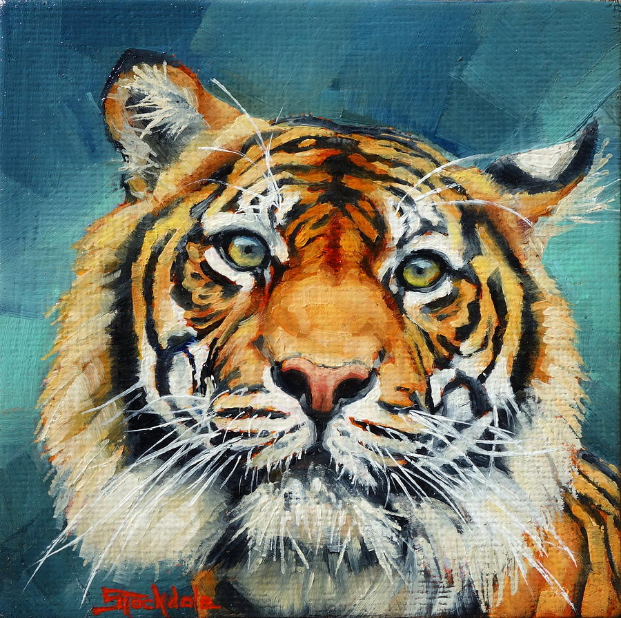 Tiger Stare Mini Painting by Margaret Stockdale