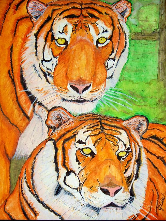 Tigers Painting - Tiger Twins by Jose Cabral