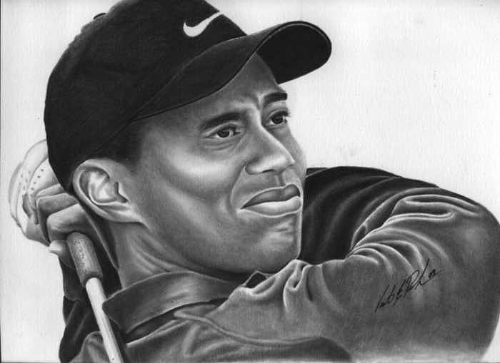 Golf Drawing - Tiger by Vincent Parker