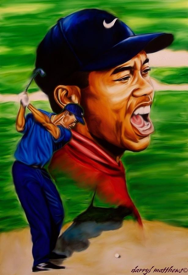 Sport Art Painting - Tiger Woods. by Darryl Matthews