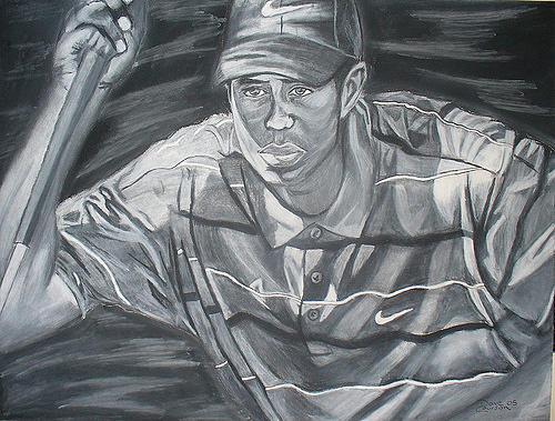 Tiger Woods Golf David Courson Art Drawing Charcoal Drawing - Tiger Woods by David Courson