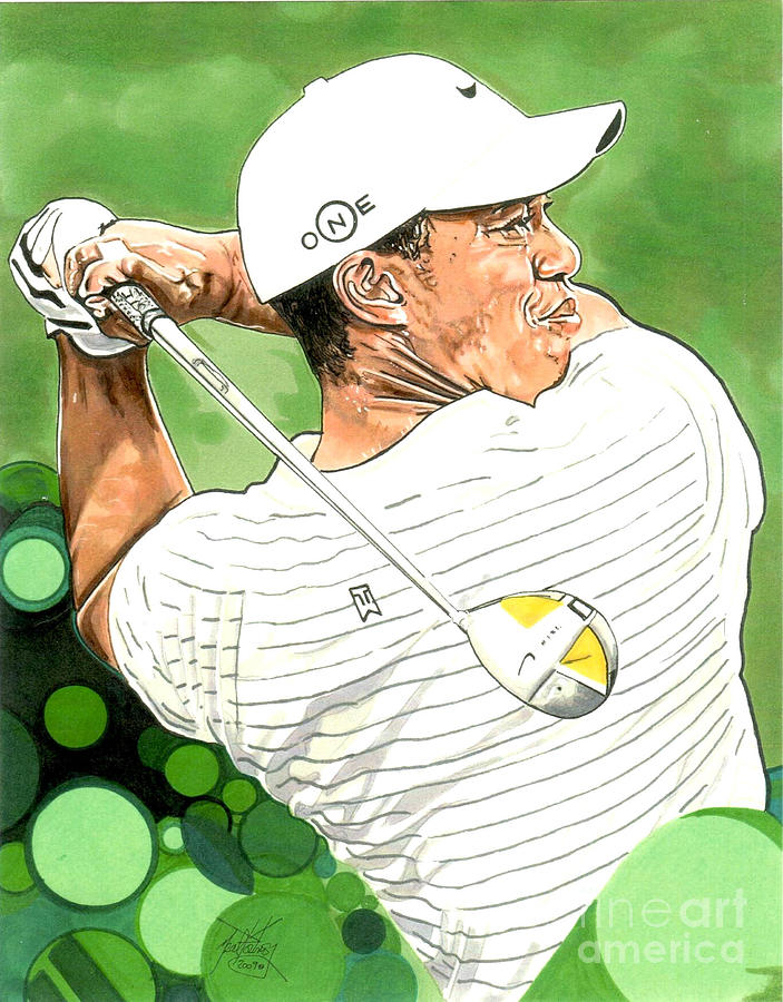 Pga Drawing - Tiger Woods by Neal Portnoy