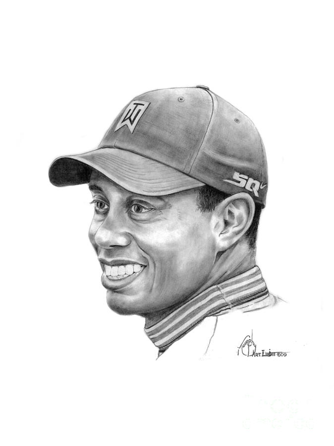 Tiger Woods Smile Drawing By Murphy Elliott