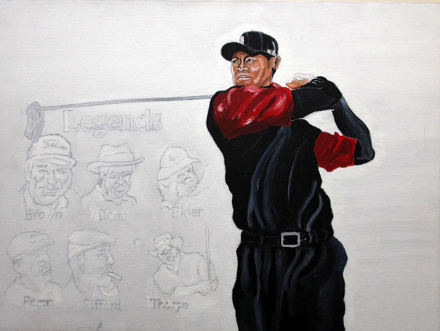 Sports Painting - Tiger Woods The Legends by Michael Fields