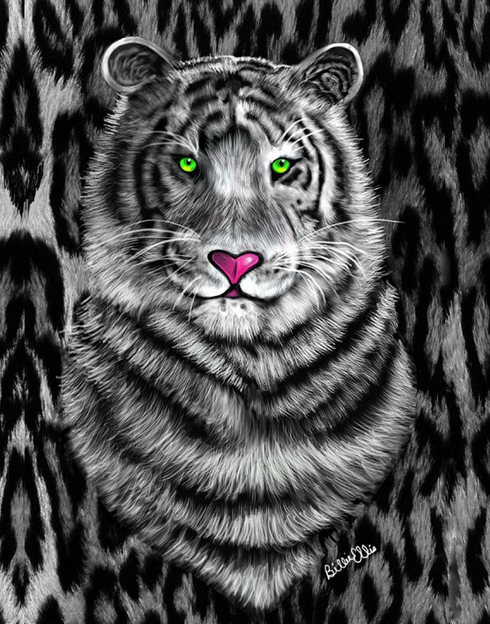 Tiger Digital Art - Tigerflouge by Billie Jo Ellis
