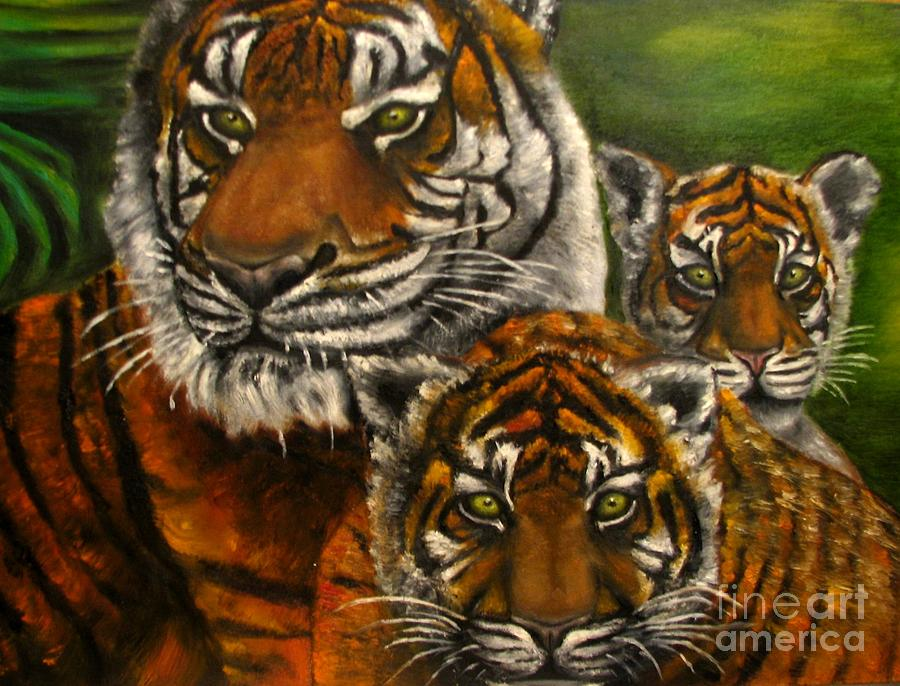Animals Painting - Tigers Family Oil Painting by Natalja Picugina