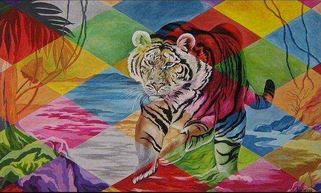 Animals Painting - Tigers Power by Netka Dimoska