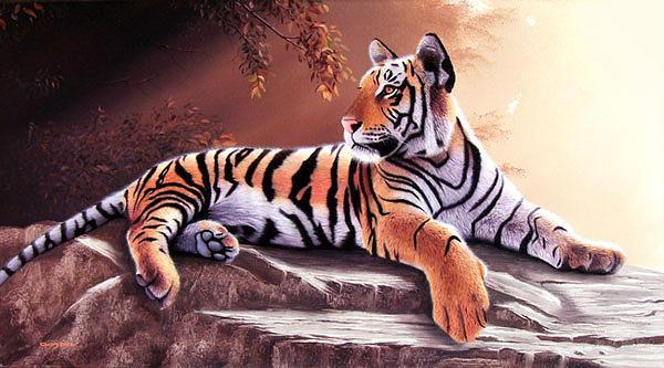 Tigers Painting - Tigre Joven by Sergio Gaspar