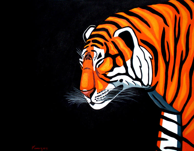 Felino Painting - Tigre Pop by Juan Antonio Venegas